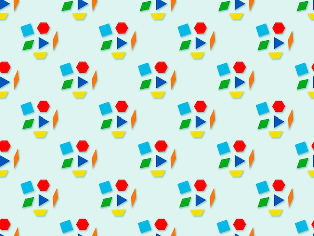Seamles abstraktes dreieck, trapez, raute, würfel, sechseck-muster auf blauem hintergrund. bunter geometrischer hintergrund