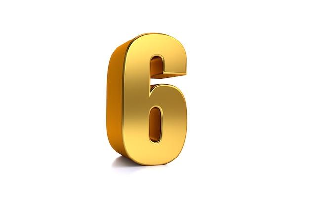 Sechs 3d-illustration goldene zahl 6 auf weißem hintergrund und kopienraum auf der rechten seite für text am besten für jubiläumsgeburtstag neujahrsfeier