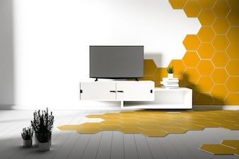 Sechseck Fliesen Farbe gelb und weiß Parkett - minimal. 3D-Rendering