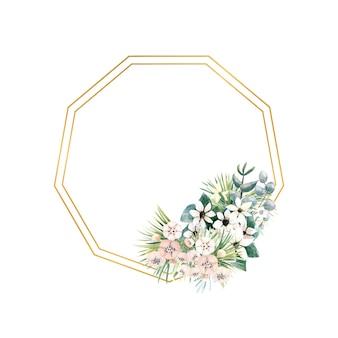 Sechseckiger goldrahmen mit kleinen blüten aus actinidia, bouvardia, tropischen und palmblättern