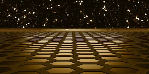 Sechseckiger rahmen glühendes sechseck abstraktes sechseckiges stahlmaterial mit bokeh-effekt