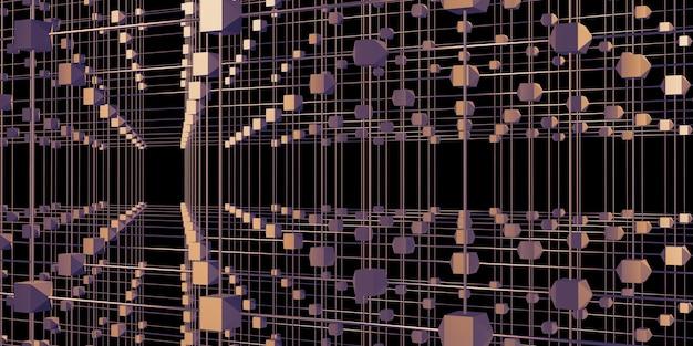Sechseckiges gitter atomstruktur cyberpunk-stil neonlicht 3d-darstellung