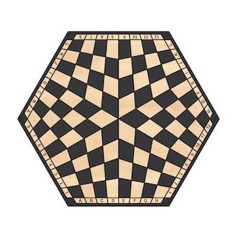 Sechseckiges schachbrett mit drei spielern auf einem weißen hintergrund. 3d-rendering