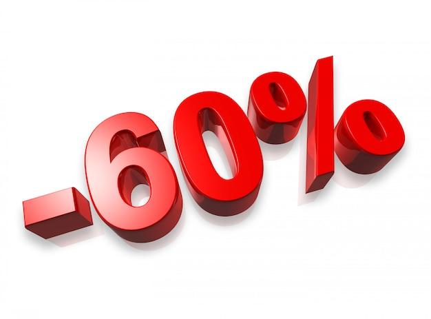 Sechzig prozent 3d-zahl, isoliert auf weiss - 60%