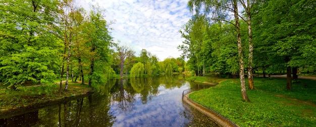 See im parkpanorama mit grünen bäumen und blauem wasser