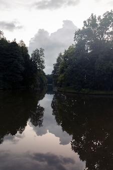 See im wald mit reflexion. abendlandschaft im wald