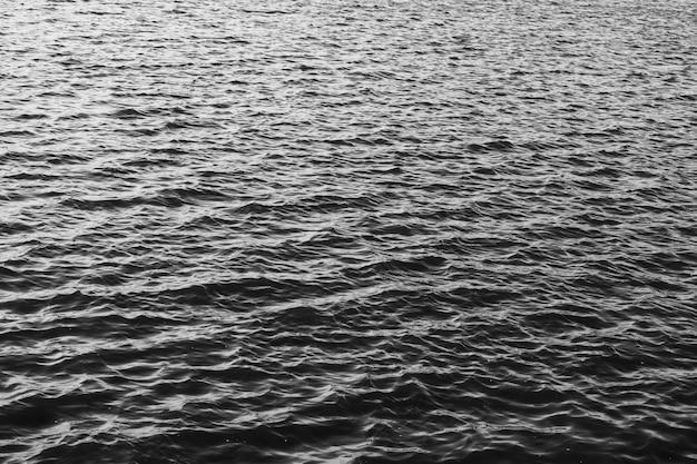 See mit wellen. schwarze und weiße wasseroberflächenstruktur. foto in hoher qualität