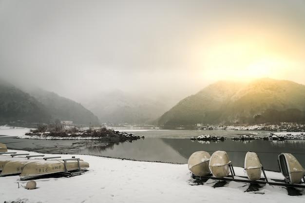 See shoji japan. ansicht der schönen weißen winter