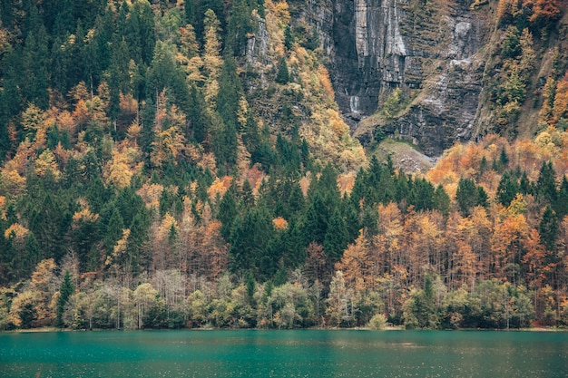 See umgeben von felsen und wäldern unter dem sonnenlicht am tag