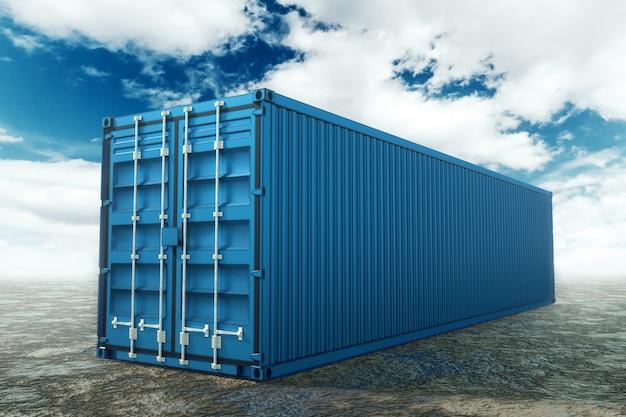 Seecontainer gegen den blauen himmel, industriehafen mit containern. logistikkonzept, schnelle lieferung. mischtechnik, kopierraum.