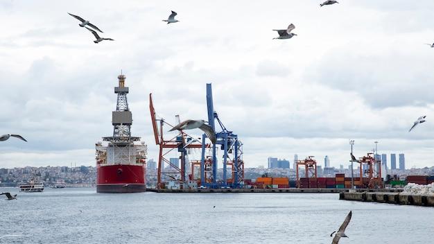 Seehafen mit festgemachtem frachtschiff bei bewölktem wetter mit fliegenden möwen, türkei Premium Fotos