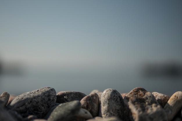 Seekiesel an einem sommerstrand