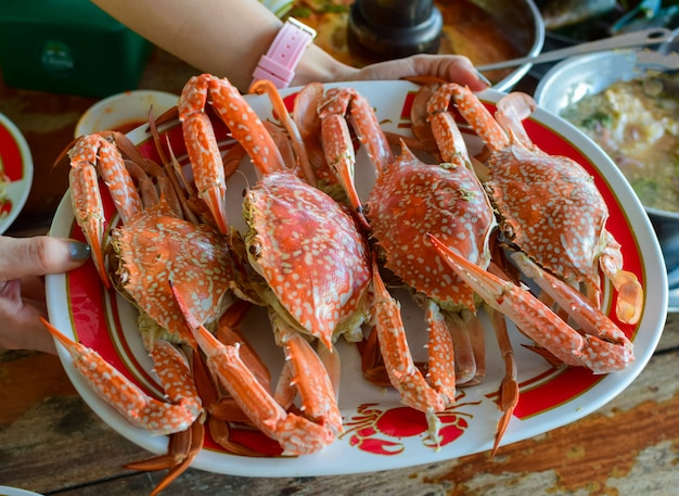 Seekrebsdampfmeeresfrüchte platziert auf einem tisch in einem restaurant.