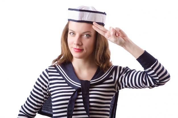 Seemann der jungen frau lokalisiert auf weiß