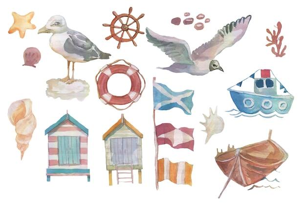Seemöwenvögel schiffsflaggen küste beherbergt lenkradkreuzfahrtreise