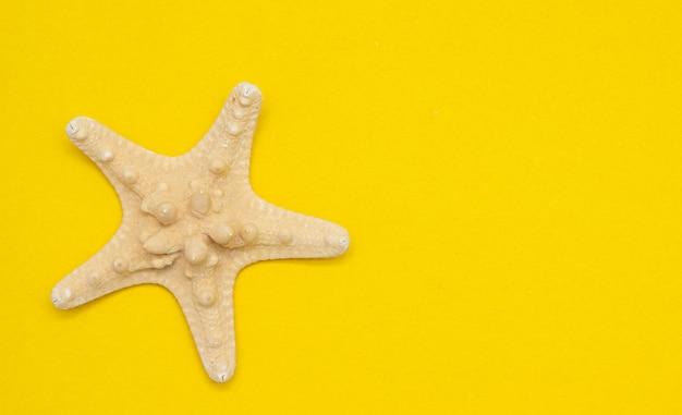 Seestern auf einem gelben tisch. urlaub auf see. ein artikel über urlaub. ein artikel über die eröffnung von resorts. meereslebewesen