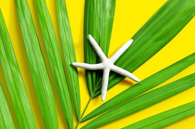 Seestern auf tropischen palmblättern auf gelber oberfläche. sommerferienkonzept genießen. draufsicht