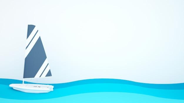 Segelbootblau mit weißer farbe schwimmen in das blaue meer