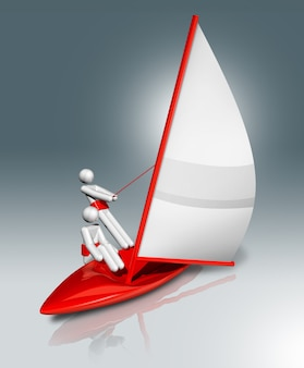 Segeln 3d-symbol, olympische sportarten