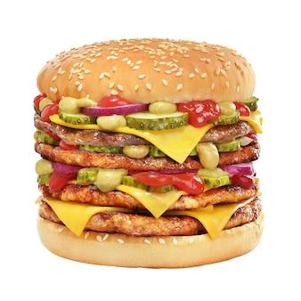 Sehr hoher cheeseburger mit rindfleischpastetchen, gurken, käse, tomatenketchup, zwiebel und senf lokalisiert auf weißem hintergrund.