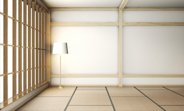 Sehr japanische art des leeren zenraumes mit tatamimattenboden und -wand mischen hölzernes. 3d-rendering