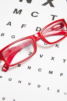 Sehtestkarte mit brille