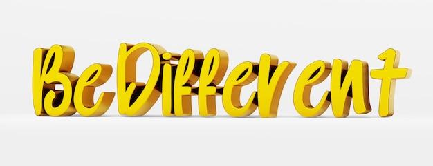 Sei anders. ein kalligraphischer satz. gold-3d-logo auf weißem hintergrund mit schatten.
