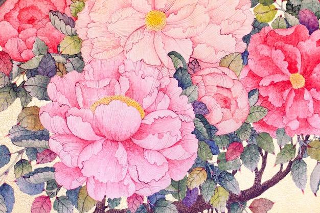 Seidenblumengewebe mit roten rosenblumen auf einem beige hintergrund.