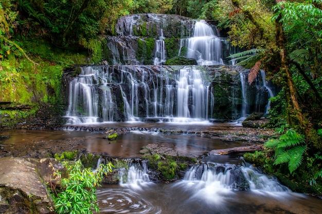 Seidiger wasserfall tief im üppigen einheimischen busch und wald