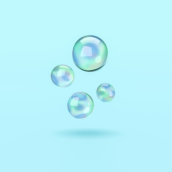 Seifenblasen auf blauem hintergrund