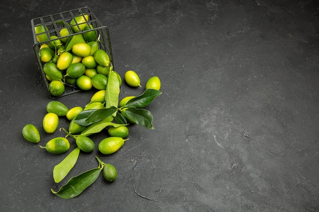 Seitenansicht aus der ferne früchte zitrusfrüchte mit blättern neben dem korb mit früchten