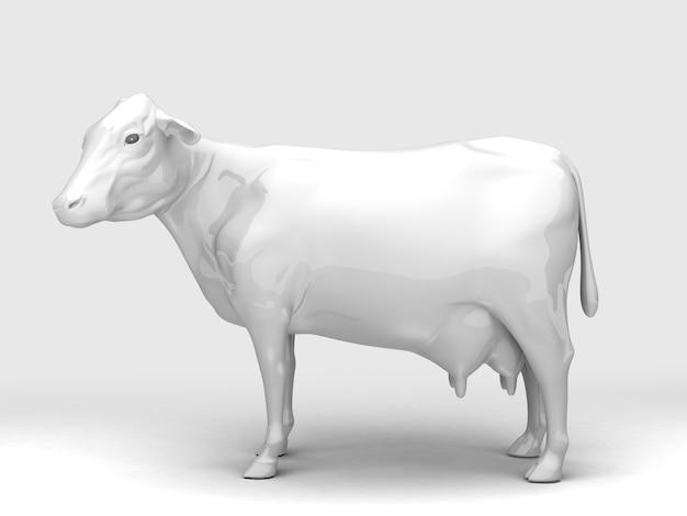 Seitenansicht der weißen keramikkuh. 3d-rendering.