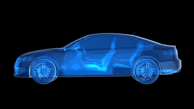 Seitenansicht des blauen röntgenautos wiedergabe 3d