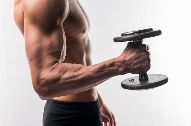 Seitenansicht des hemdlosen athletischen manntorsos, der gewichte hält