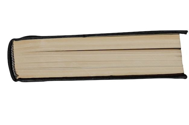 Seitenansicht des papierbuchs ist auf einem weißen hintergrund lokalisiert. foto in hoher qualität