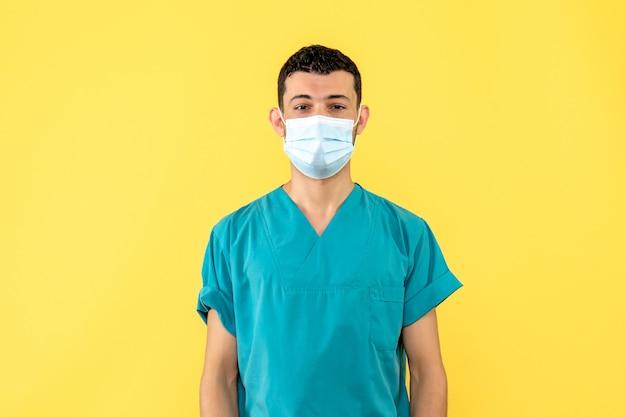 Seitenansicht ein arzt ein arzt in der maske spricht über coronavirus
