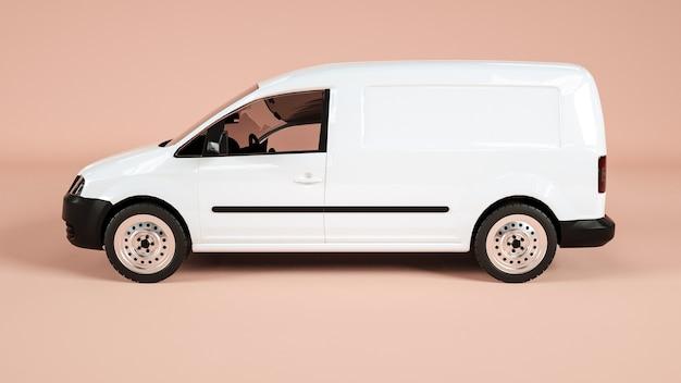 Seitenansicht eines autos des öffentlichen verkehrs für ausstellungsmodell. rendern