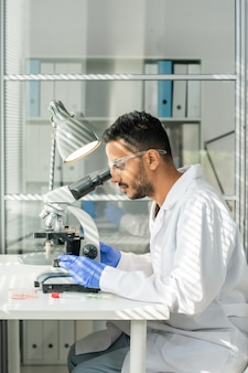 Seitenansicht eines jungen zeitgenössischen forschers in handschuhen, brillen und weißkittel, der eine probe von im labor angebautem sojasprossen im mikroskop studiert