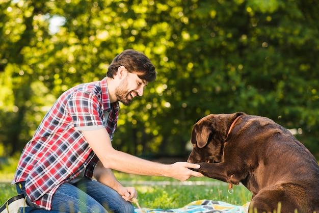 Seitenansicht eines lächelnden jungen mannes, der mit seinem hund im park spielt