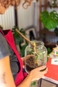 Seitenansicht frau, die sich der pflanze im glas kümmert