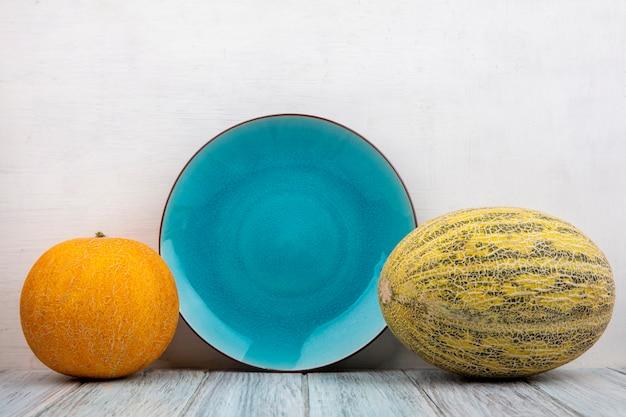 Seitenansicht von frischen und köstlichen melonen auf weißer oberfläche mit kopierraum