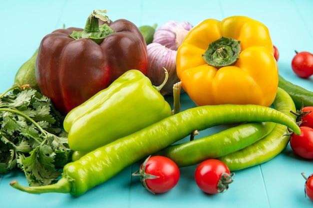 Seitenansicht von gemüse als tomaten-gurken-pfeffer-knoblauch und koriander auf blau