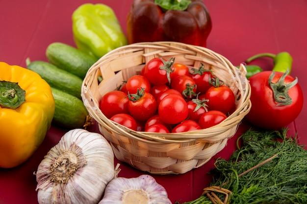 Seitenansicht von gemüse als tomaten im korb mit pfeffer-knoblauch-dill auf rot
