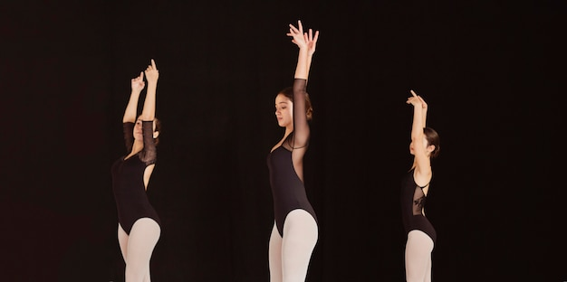 Seitenansicht von professionellen balletttänzern, die zusammen in trikots üben