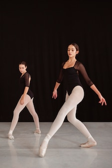 Seitenansicht von professionellen balletttänzern, die zusammen üben, während sie spitzenschuhe tragen
