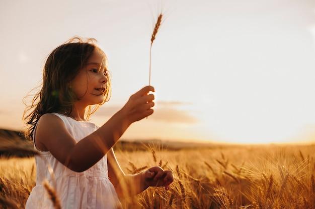 Seitenansichtporträt eines reizenden kleinen mädchens in einem weizenfeld gegen sonnenuntergang gekleidet in weiß.
