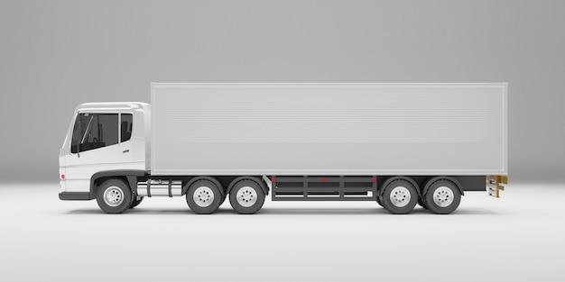 Seitenwinkelansicht des lieferwagens auf weißem hintergrund des studios. 3d-rendering .
