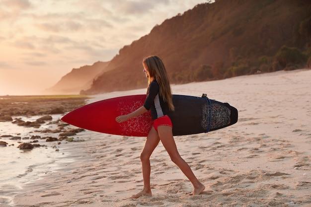 Seitwärts geschossen von gesunder frau im roten bikini, geht auf sandstrand, trägt surfbrett, hat sommeraktivitäten im freien