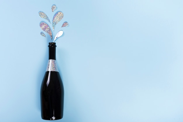 Sektflasche mit ausschnitt glitzer spritzer