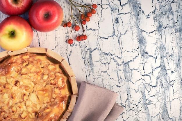 Selbst gemachter apfelkuchen mit äpfeln auf heller rustikaler tabelle
